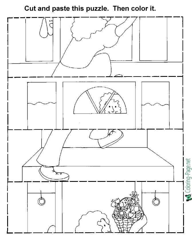 Puzzle Cut Paste Child Activity Worksheets