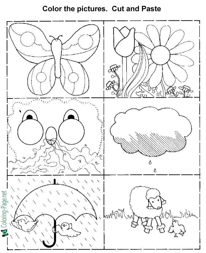 Color, Cut and Paste Kids Activity Worksheets