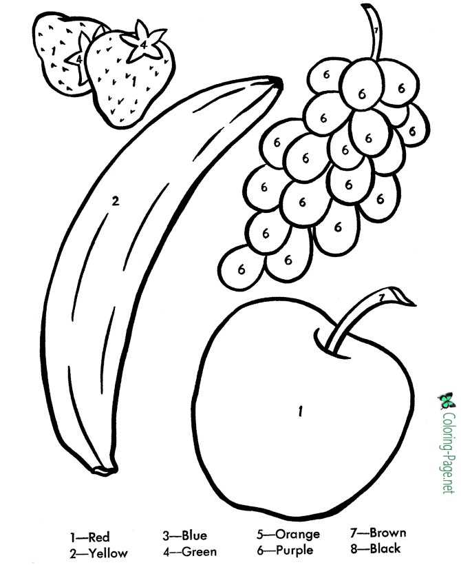 Fruit Color by Number Worksheet