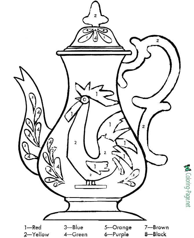 Rooster Teapot Color by Number Worksheet