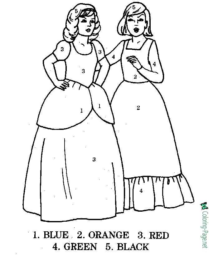 Two Girls Color by Number Worksheet