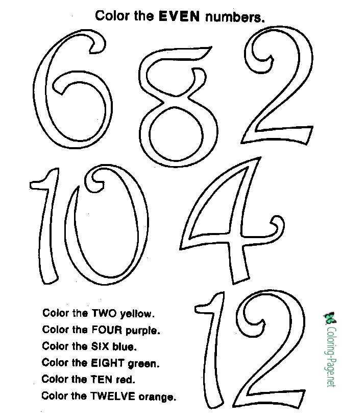Color by Number Even Number Worksheet