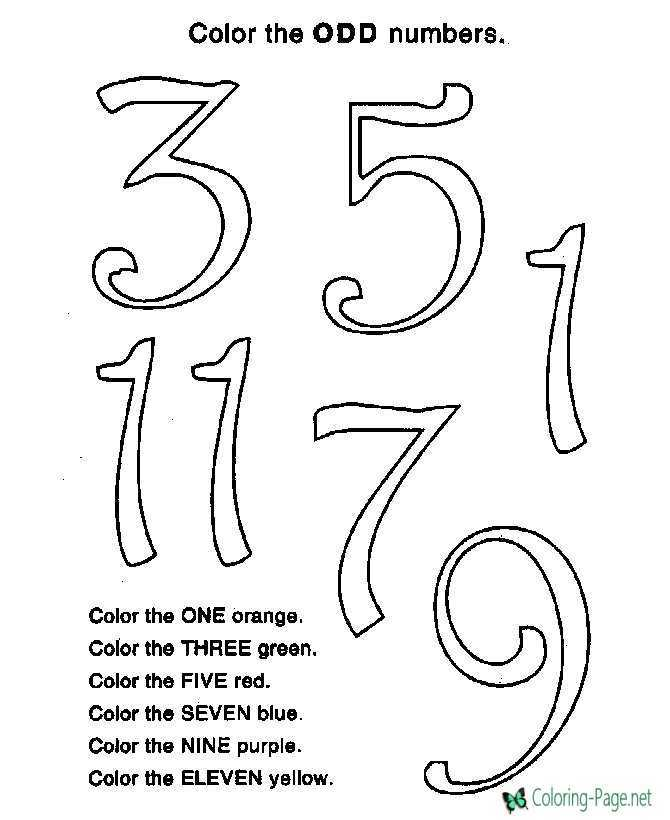 Color by Number Odd Numbers Worksheet