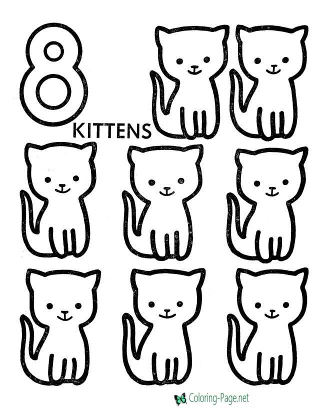 Printable Counting Worksheets 8 Cats