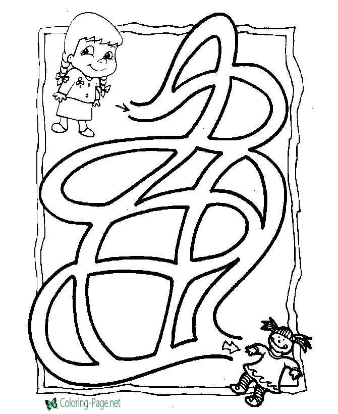 Apple Coloring 2 Pages Of Printable Maze Game Free