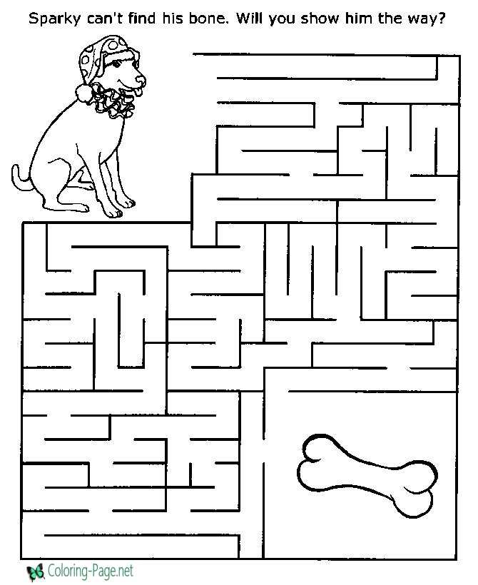 Printable Mazes Dog and Bone