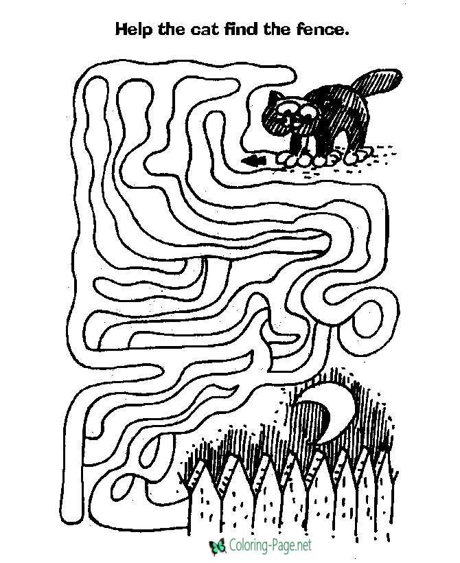 Halloween Cats Maze Printable Mazes