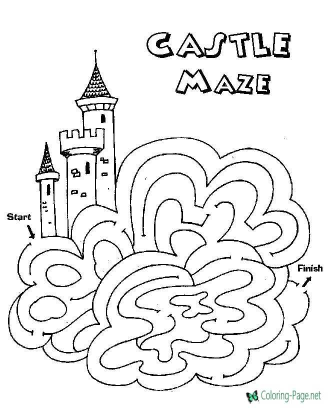 Castle Kids Printable Mazes Via Coloring Page