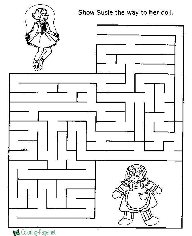 Printable Mazes Girls Jump Rope