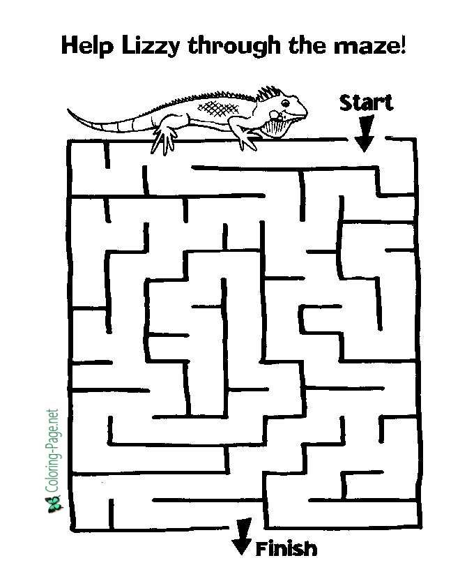 Lizard Kids Printable Mazes