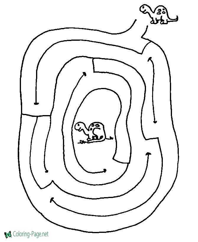 Printable Mazes Dinosaur Maze