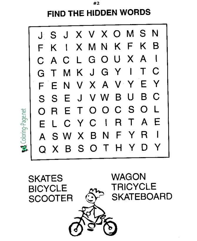 Printable Word Search Kids Worksheet