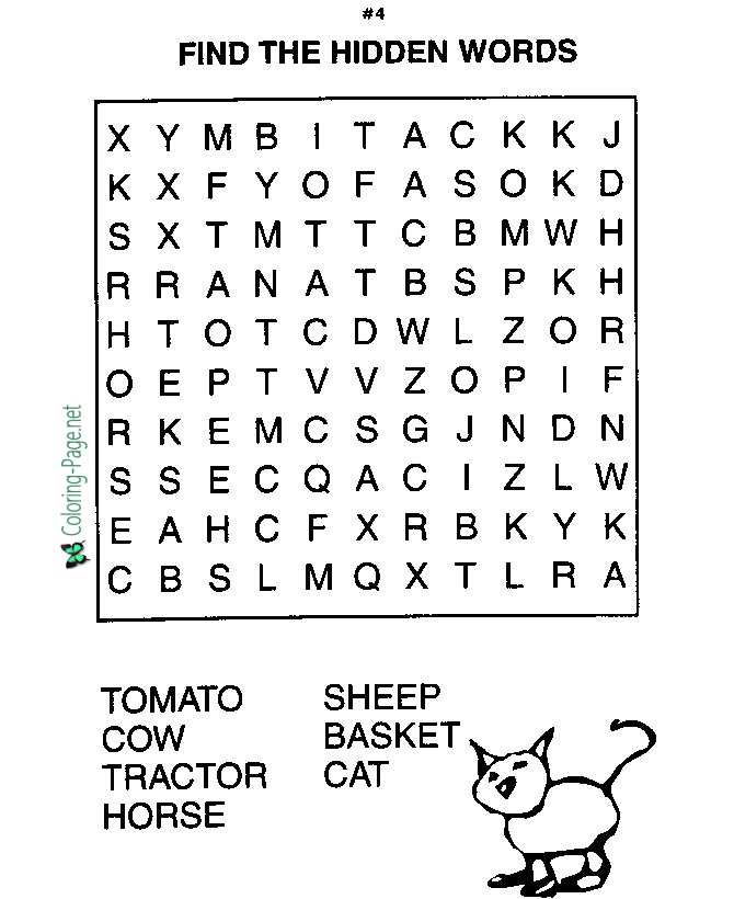 Farm Animals Word Search Worksheets