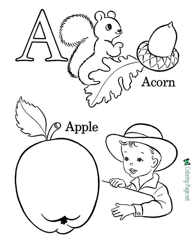 Letter A - free alphabet coloring page
