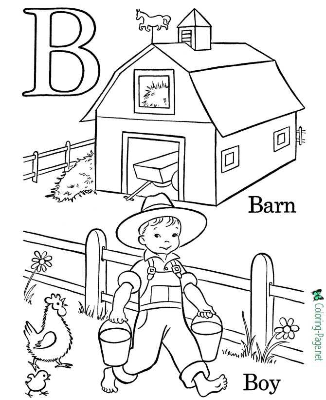 Letter B - free alphabet coloring page