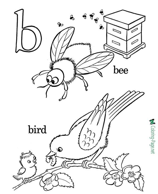 Birds and Bees - Alphabet Coloring Pages
