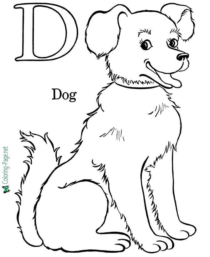 D is for Dog - Alphabet Coloring Pages
