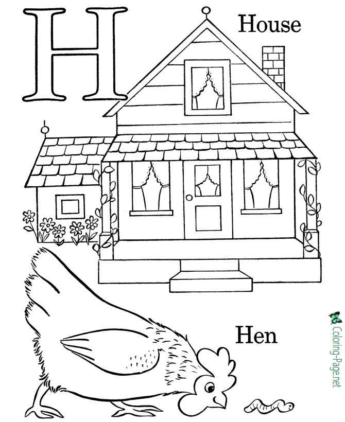 H is for House - Alphabet Coloring Pages