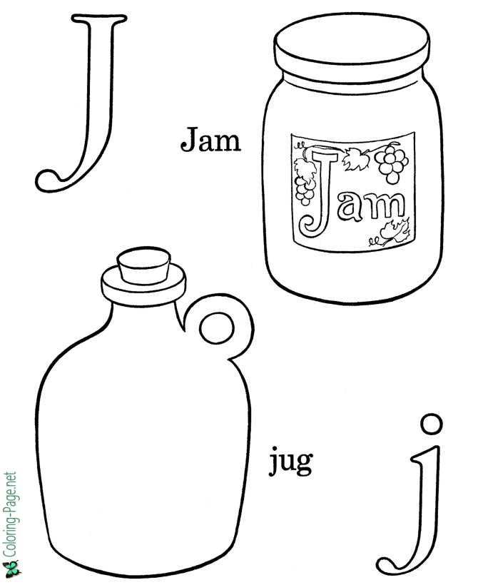 J is for Jam - Free Alphabet Coloring Page
