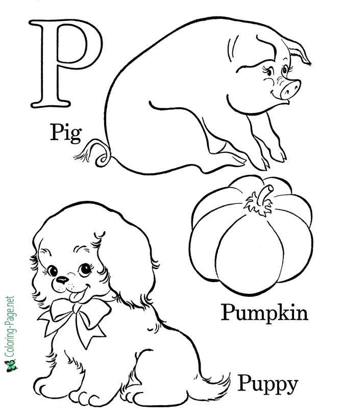 P for Puppy - Alphabet Coloring Page