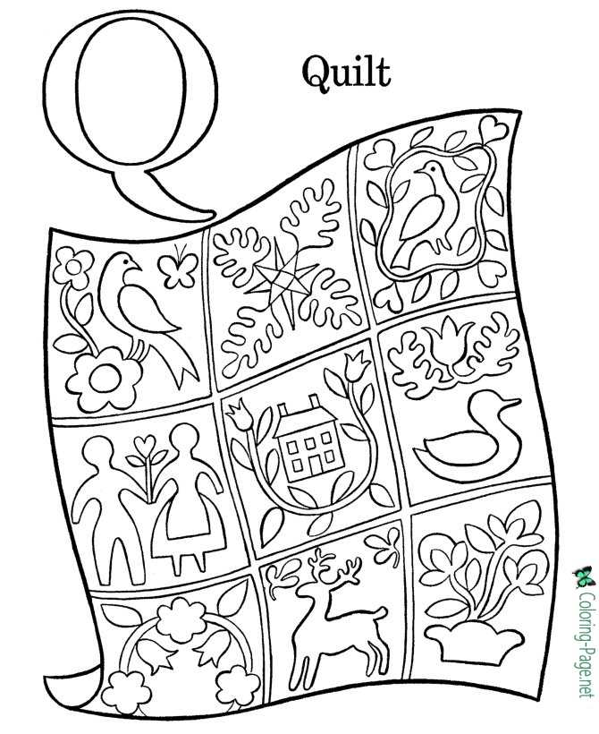 Letter Q - Alphabet Coloring Pages