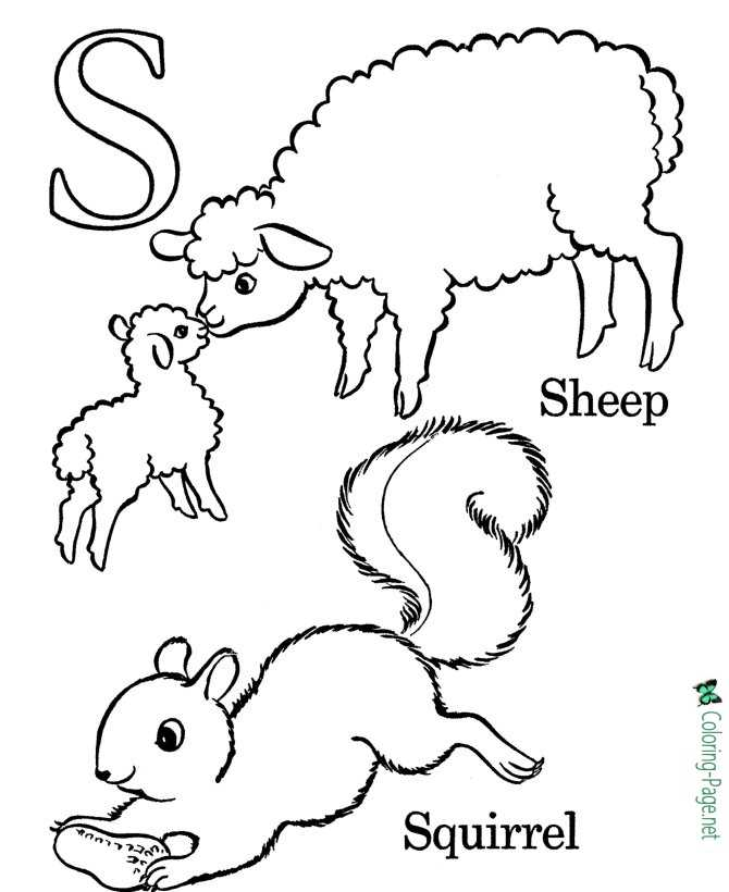 S is for Sheep - Alphabet Coloring Pages