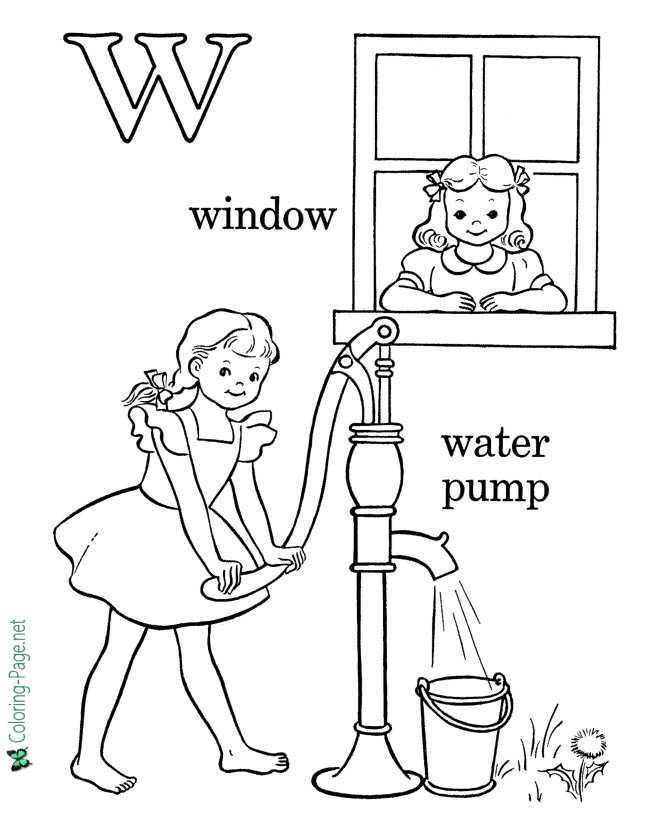 The Letter W - Free Alphabet Coloring Page