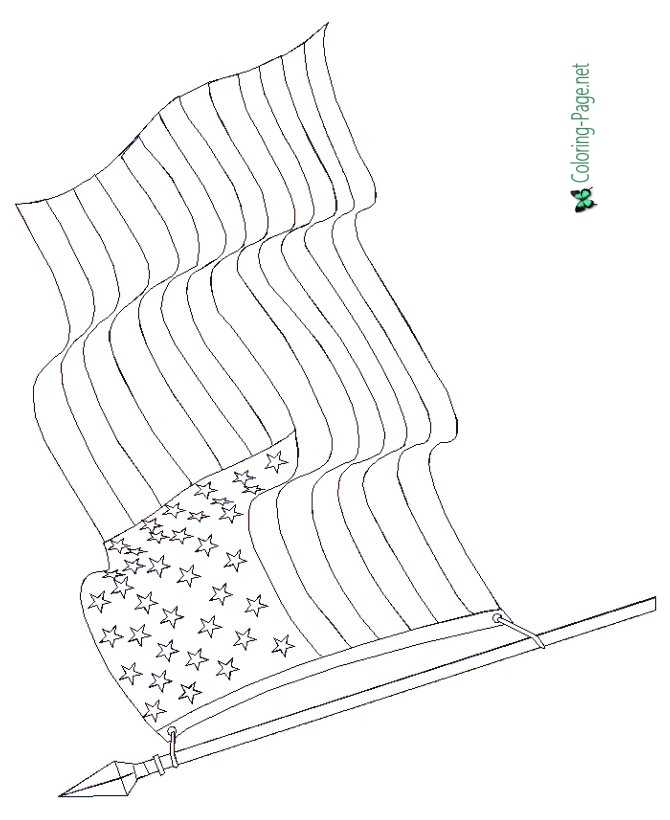 4th of July Coloring Pages - American Flag