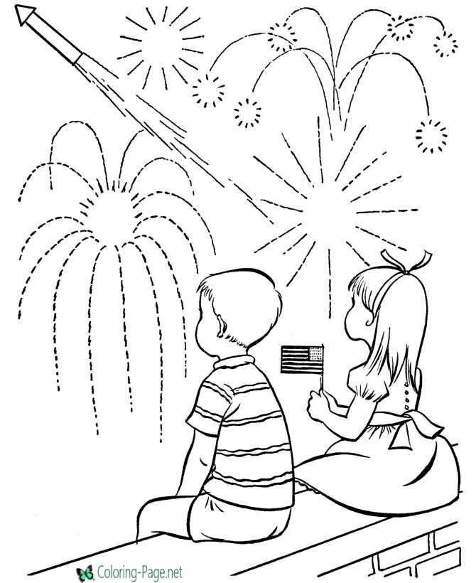 July 4th coloring page fireworks