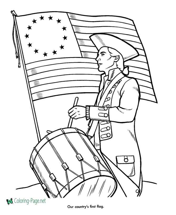 4th of July Coloring Pages - First American Flag