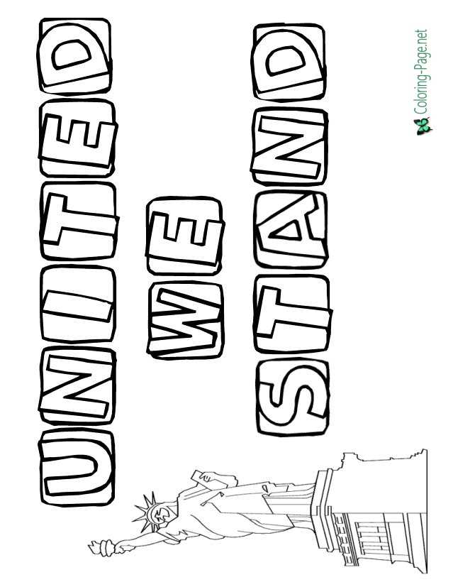 United We Stand 4th of July Coloring Pages