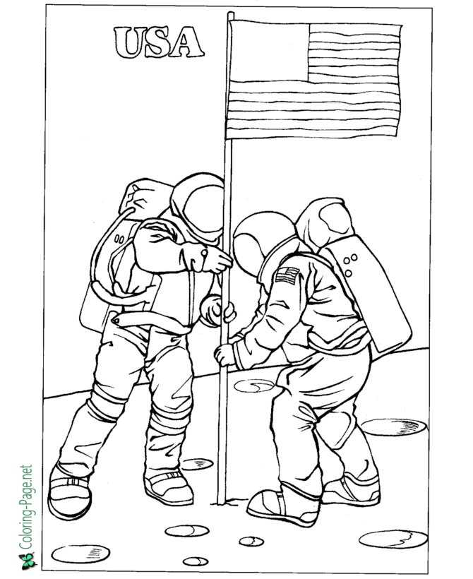 American Flag on the Moon Coloring Page