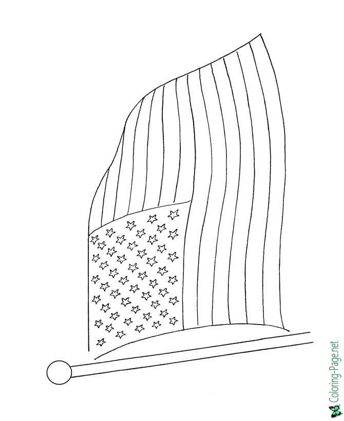 American Flag Coloring Page to print
