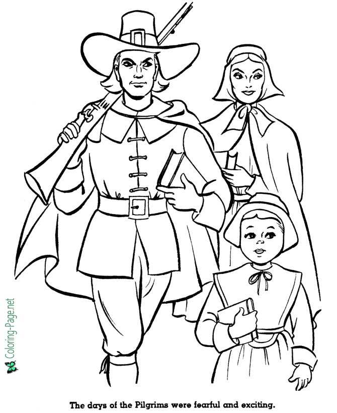 Pilgrims first thanksgiving coloring pages ~ American History for Kids Coloring Pages