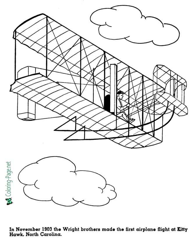 Wright Brothers First Flight American History Coloring Page