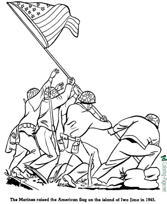 Flag at Iwo Jima - American History for Kids Coloring Pages