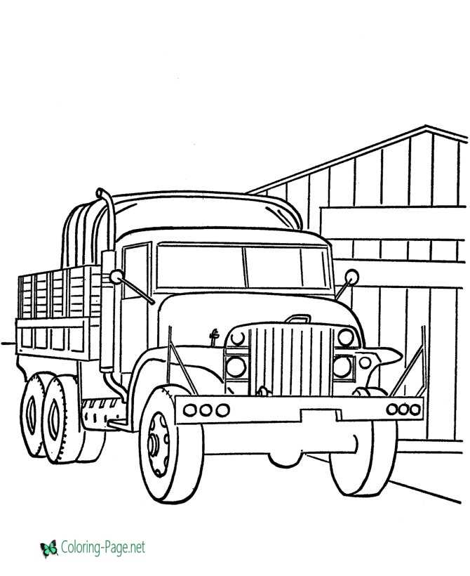 Free Armed Forces Coloring Pages - Army Truck