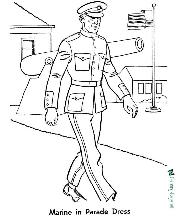 Armed Forces Coloring Pages - Marine in Parade Dress