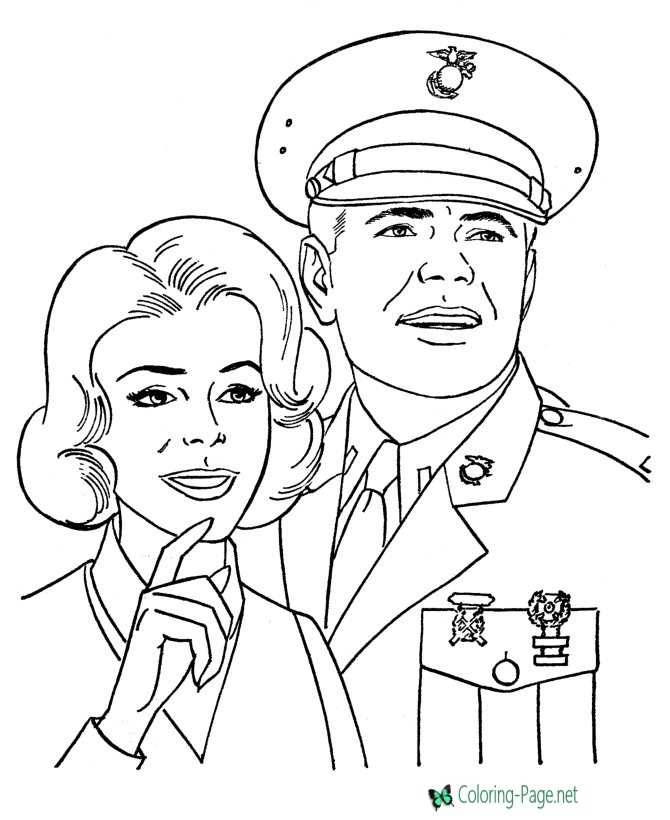 Printable Armed Forces Free Coloring Page
