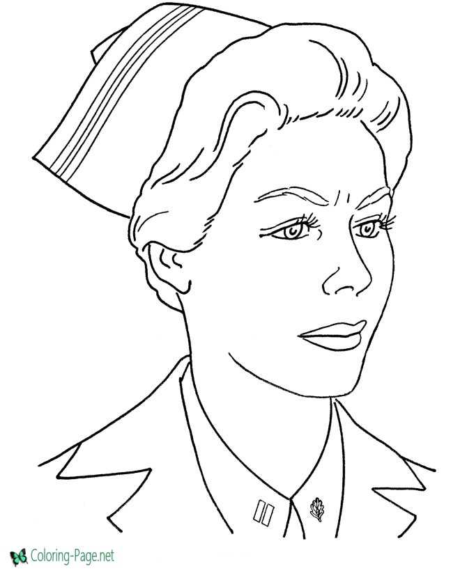 Army Nurse Armed Forces Coloring Page