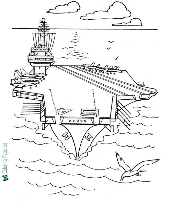 Aircraft Carrier Armed Forces Free Coloring Page