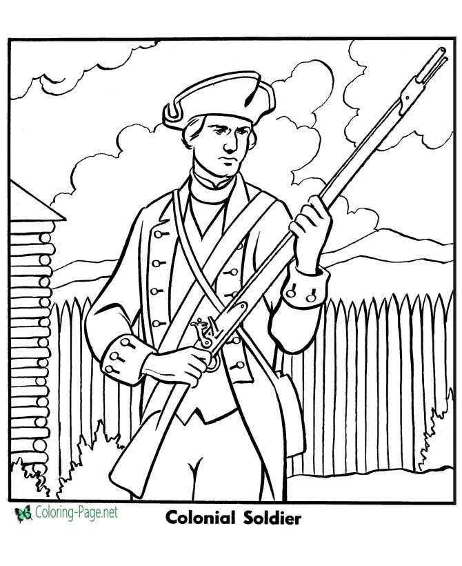 Colonial Soldier Armed Forces Coloring Page