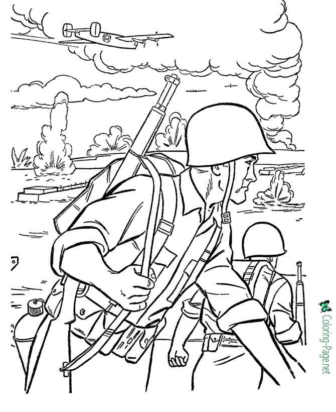WW2 Free Armed Forces Coloring Pages
