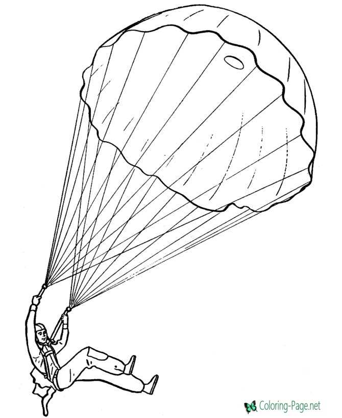 Paratrooper Free Armed Forces Coloring Pages