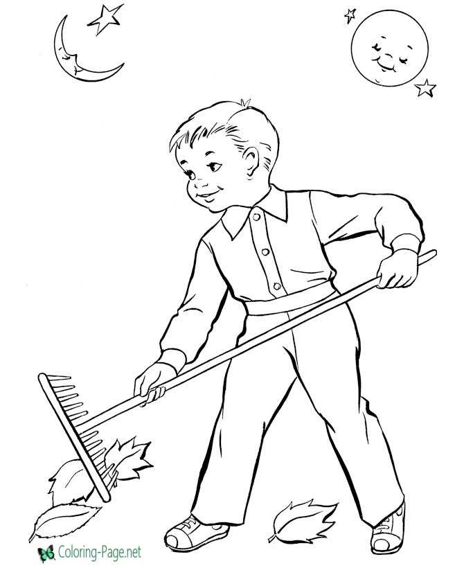 kids autumn coloring page