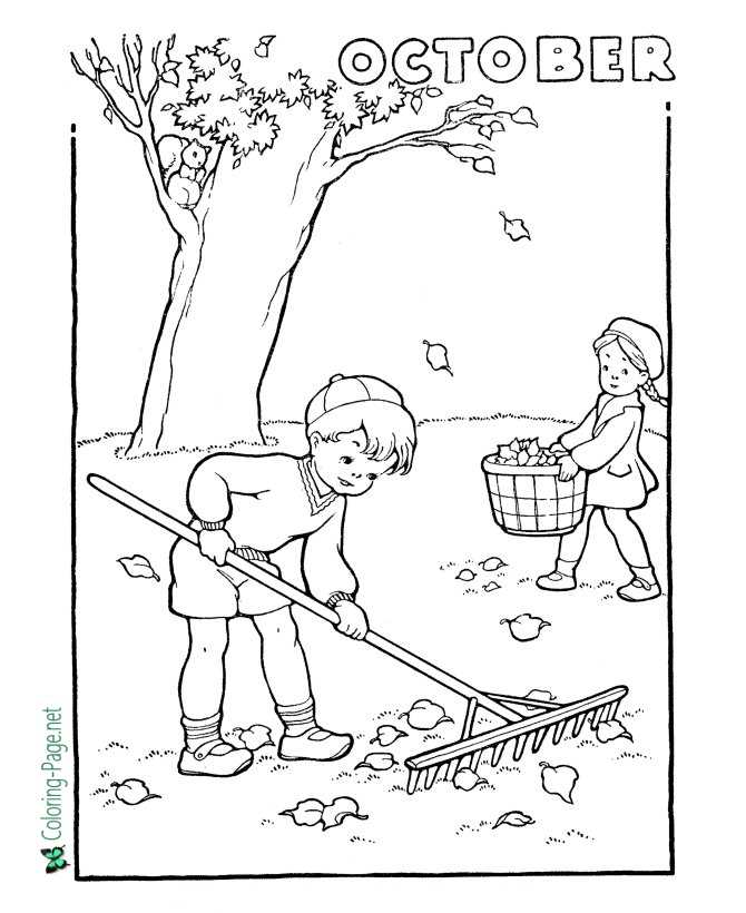 print autumn coloring page