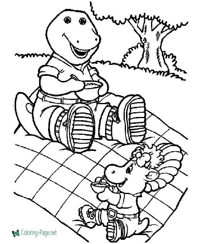 print barney coloring page