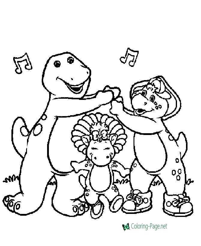 Barney coloring page - Barney, BJ, Baby Bop