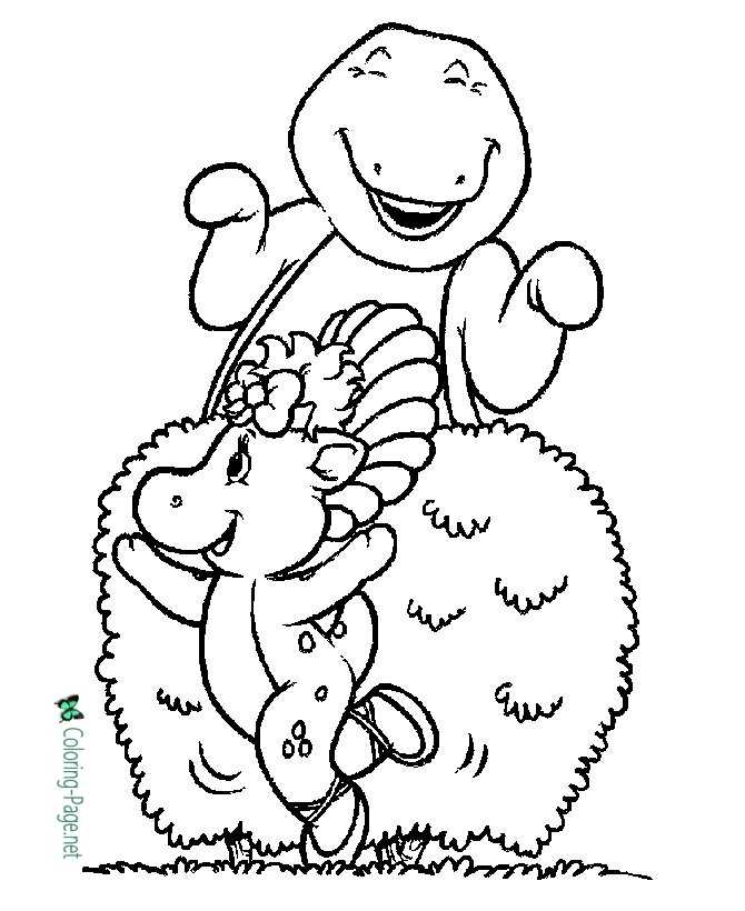 barney coloring page for children