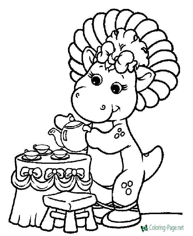 Printable Barney coloring page - Baby Bop Tea Time